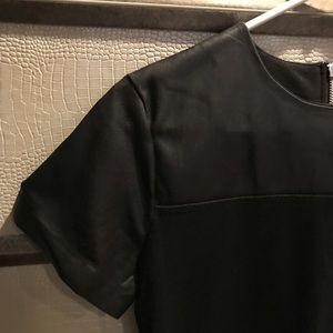 Leather detail mini-dress